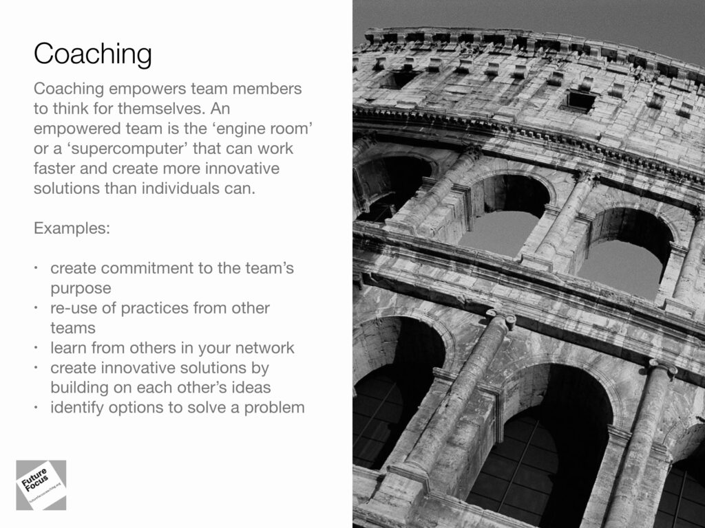 Coaching and examples of where coaching could benefit leaders and their teams